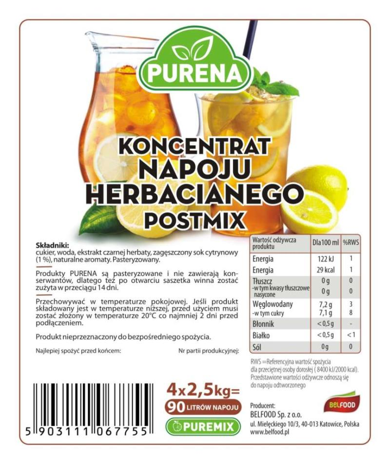 KONCENTRAT NAPOJU HERBACIANEGO ICE TEA  POSTMIX 4*2.5KG